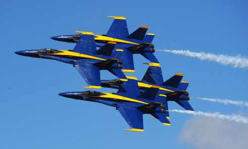 OFFUTT AIR FORCE BASE Neb.– The U.S. Navy's Blue Angels, an F-18 demonstration team, perform breathtaking stunts in their famous diamond formation on Aug. 29, 2008. (U.S. Air Force Photo by Josh Plueger)