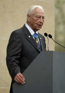 Ehlers speaks at the 63rd anniversary of D-Day in Normandy, France, 2007. (Source Defense Visual Information Center)