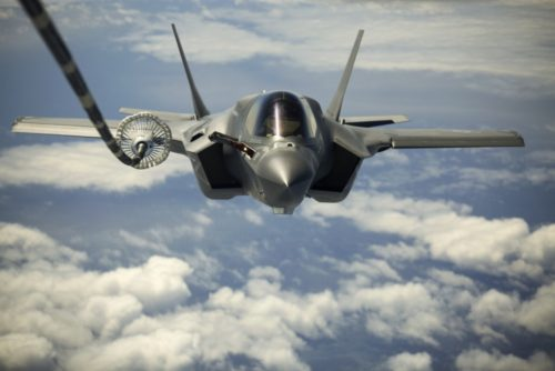 The F-35B made its first transatlantic flight June 29, 2016. Three F-35's flew from MCAS Beaufort in South Carolina and landed at RAF Fairford in Gloucestershire, England. They were assisted by two KC-10's, and refueled 15 times over the Atlantic. (U.S. Marine Corps photo by Cpl. Brian Burdett/Released)